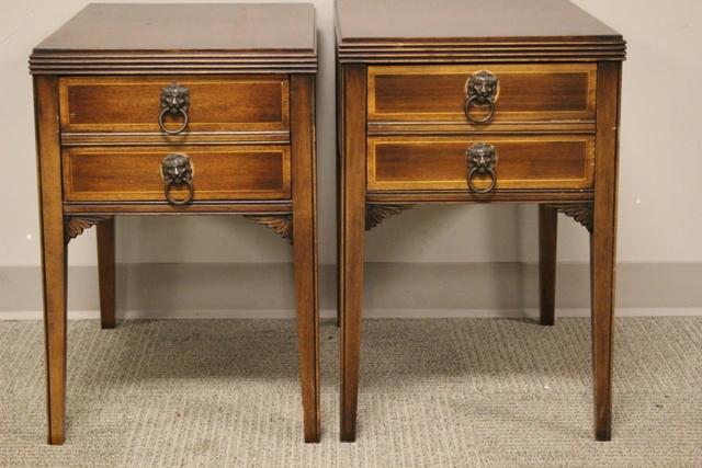 Two Mahogany End Tables
