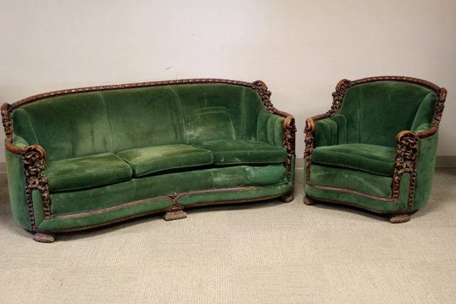 Heavily Carved Victorian Sofa and Chair