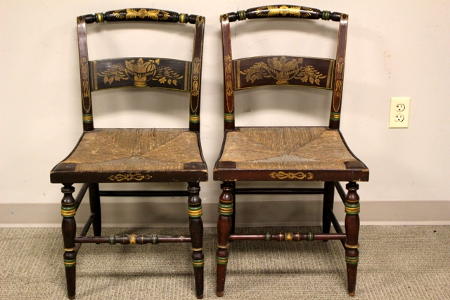 Pair of 19th Century Rush Seat Stenciled Chairs
