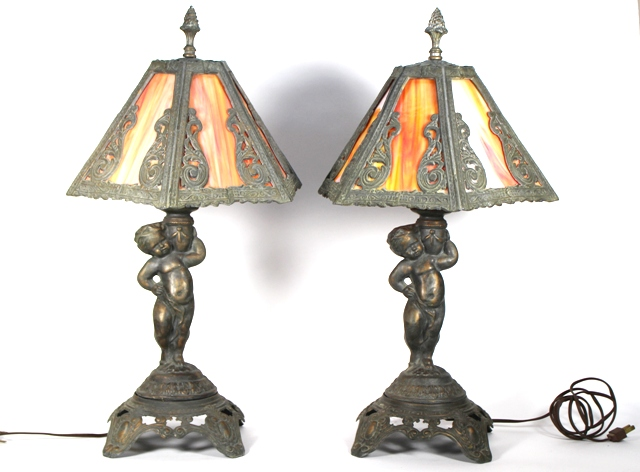 Pr. 1970's Spelter and Slag Glass Cherub Lamp