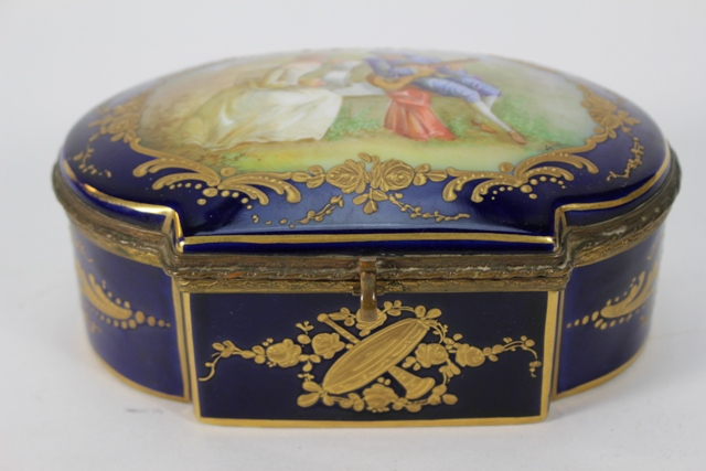 Sevres Style Hand Painted Porcelain Dresser Box