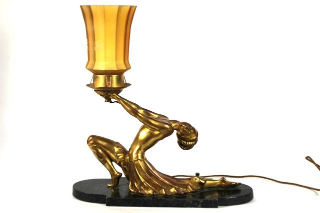 20th Century Art Deco Cast Brass Figural Lamp