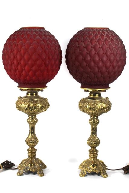 Pr. Vintage Loevsky & Loevsky Brass Patinated Lamps