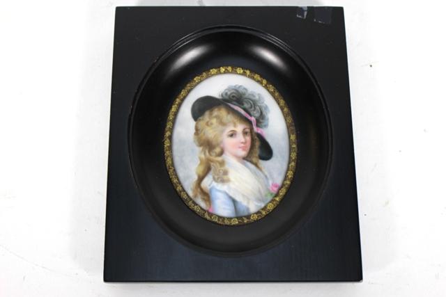 Antique French Miniature Portrait on Porcelain