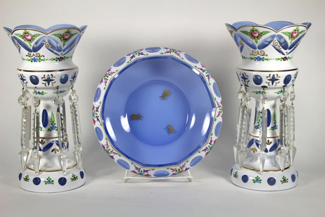 Bohemian White Cut to Blue Prism Lustres & Bowl