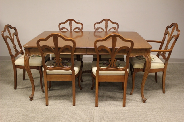 1940's Country French Dining Table and Eight Chairs