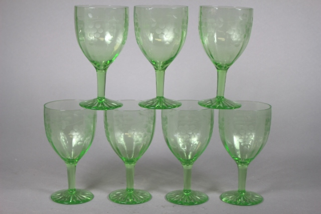 57 Piece Green Depression Stemware
