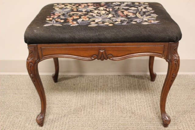 Country French Style Needlepoint Stool