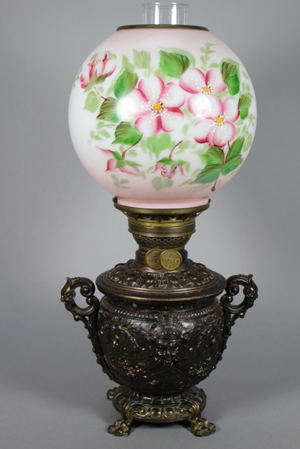 Plume & Atwood 19th C. Neoclassical Relief Oil Lamp