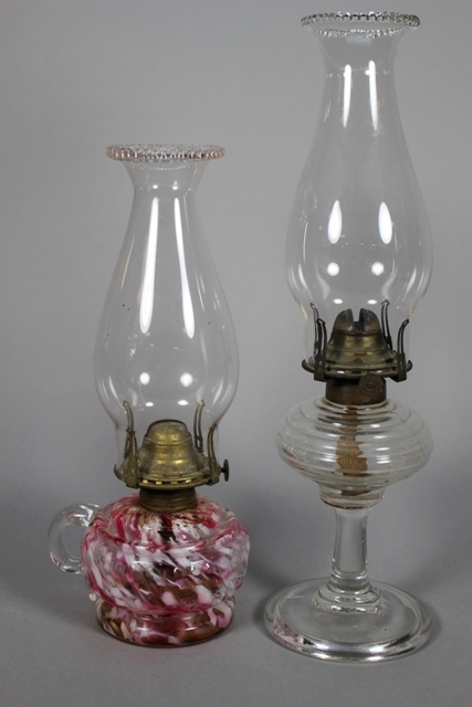 Two ca 1870's Scovill Mfg. Co. Kerosene Oil Lamps