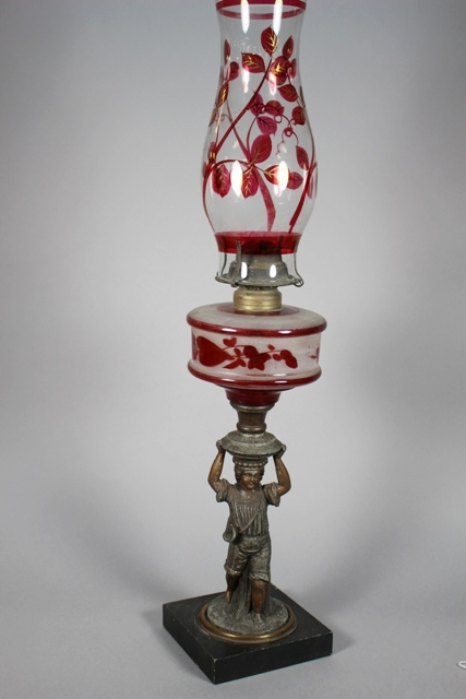 ca 1880 Cranberry Painted Oil Lamp on Figural Base