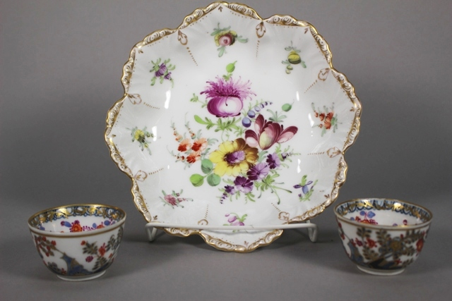 Meissen Handless Tea Cups and Dresden Porcelain Bowl