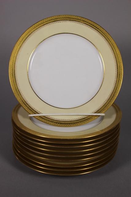Ten Wm Geurin & Co. Limoges Dessert Plates Gilt Rim