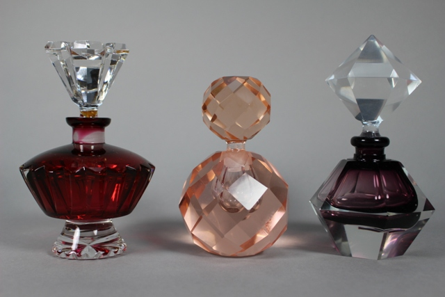 Three Geometrical Art Glass Perfume Bottles