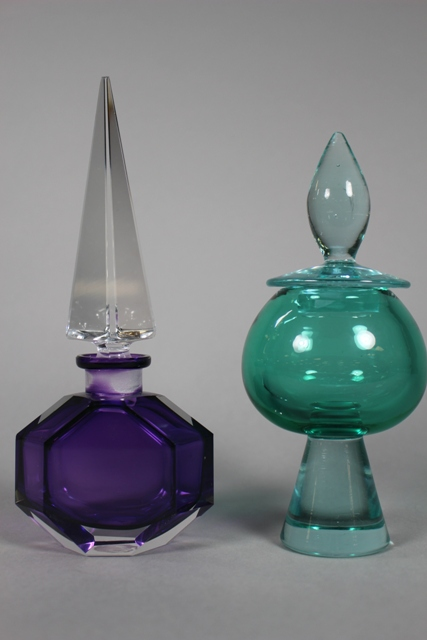 Violet Art Glass Perfume Bottle and Lidded Dresser Jar