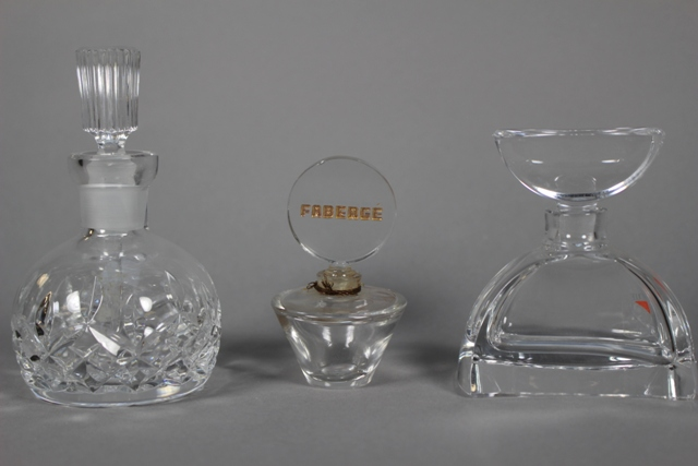 Waterford, Faberge and Colle Crystal Perfume Bottles