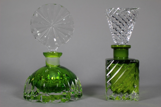 Two German Art Glass Perfume Bottles