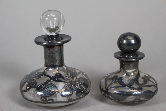 Two Art Nouveau Perfume Bottles with Silver Overlay