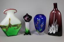 Collection of Four Hand Blown Art Glass Vases