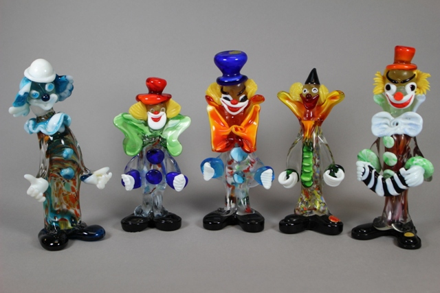 Group of Five Murano Art Glass Circus Clowns
