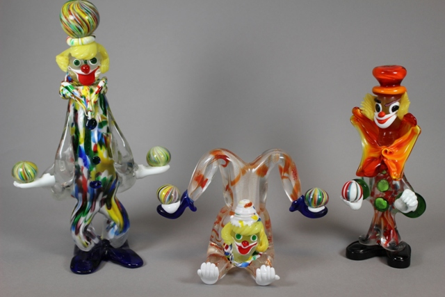 Three Juggling Murano Art Glass Circus Clowns