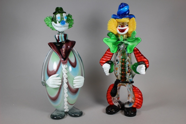 Murano Art Glass Clown Decanter and 16