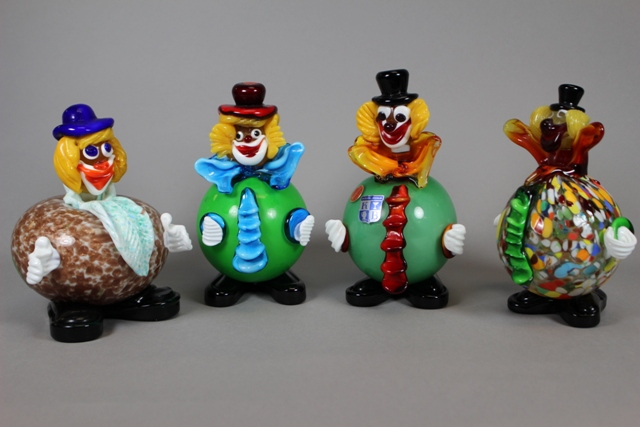 Group of Four Circular Murano Art Glass Circus Clowns