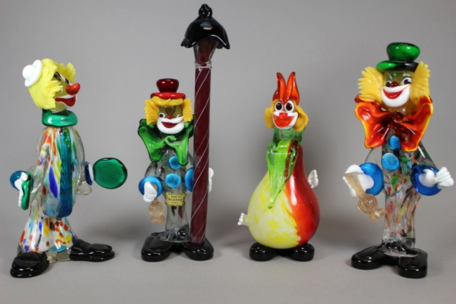 Four Large Murano Art Glass Circus Clowns