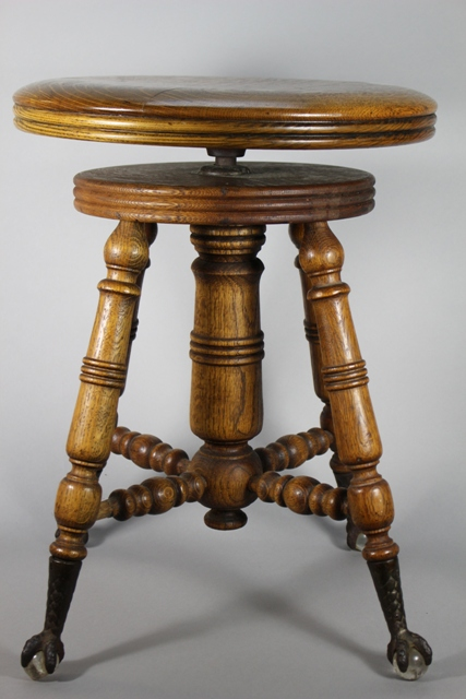 ca. 1900 Quartersawn Oak Organ Stool Ball & Claw Feet