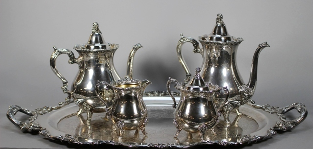 Wallace Royal Rose Silverplate Five Piece Tea Set