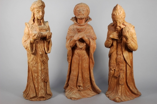 Giuseppe Nicolini Sculpted Terracotta Three Wise Men