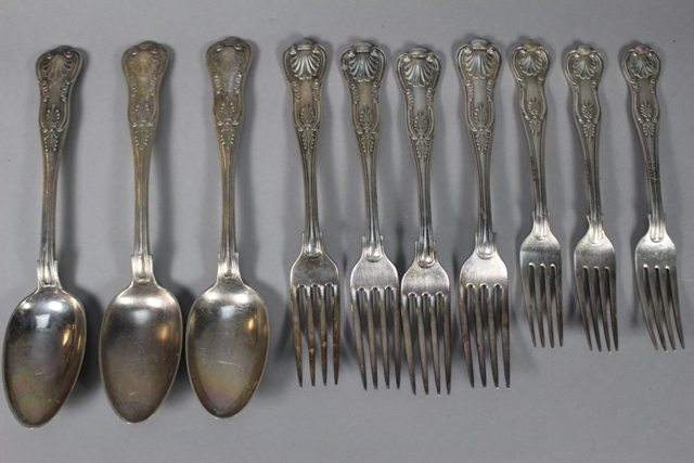 Ten Pieces of Gorham Silverplate Kings Pattern Utensils