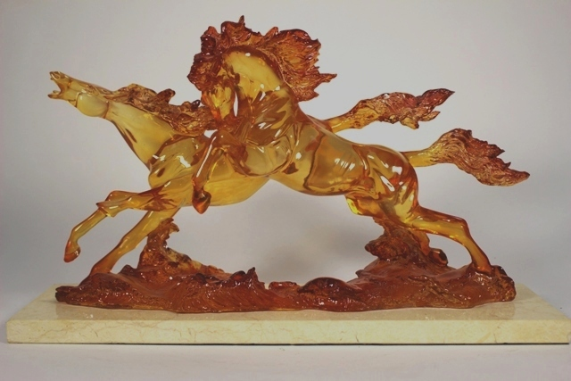 Amber Resin Horse Figural on Marble Base