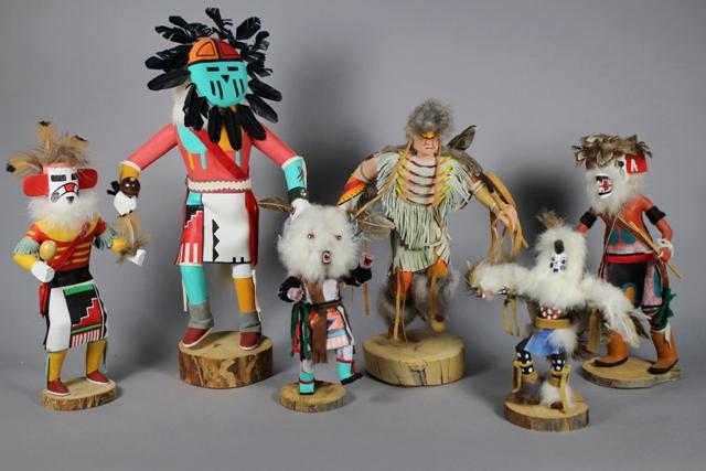 Group of Five Hand Made Hopi Kachina Dolls