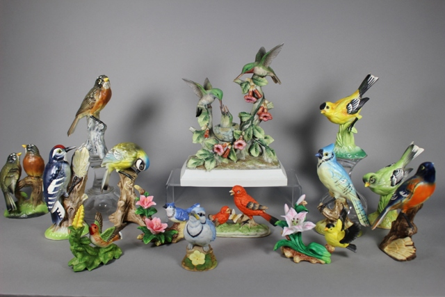 Collection of 20 Porcelain Bird Figurines