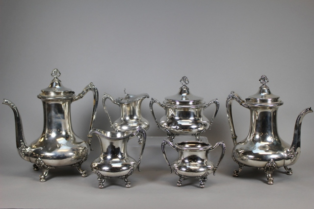 Reed & Barton Monogrammed Silverplate Tea Set