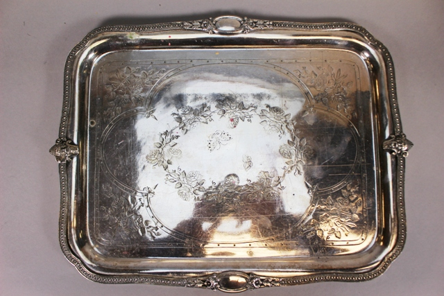 Ornate 19th Century English Etched Silverplate Tray