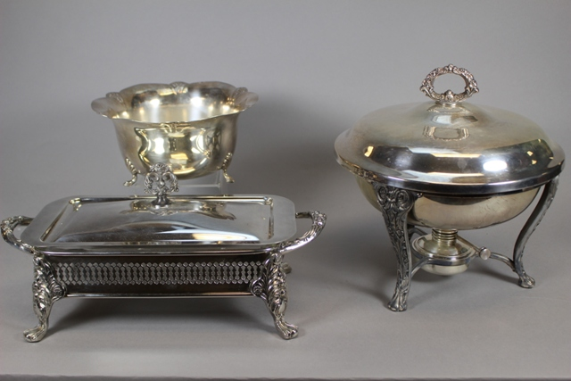 English Silverplate Serving Dishes and Wm. Rogers Bowl