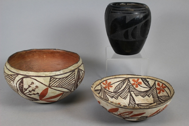 Santa Clara Pueblo and Isleta Pueblo Pottery Pieces