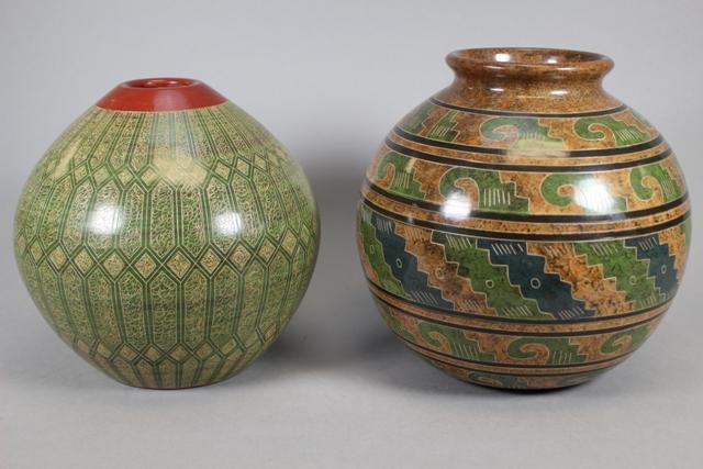 Two San Juan de Orient Nicaraguan Art Pottery Vases