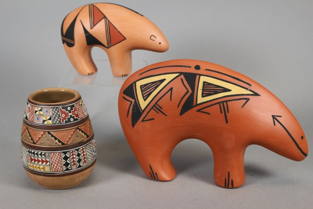 Two Acoma Pottery Ceramic Bears and Peruvian Vase