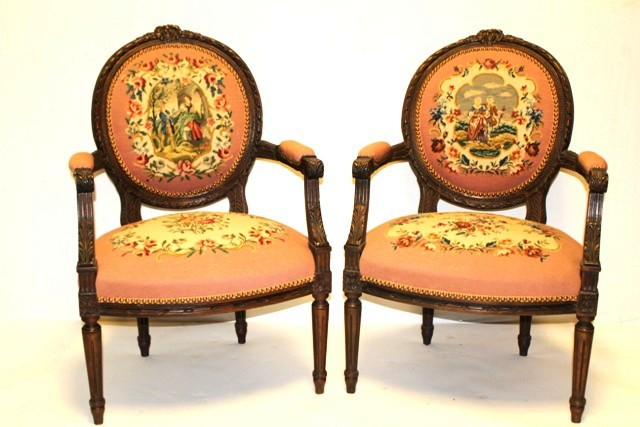 Pair of Early 20th C. French Needlepoint Arm Chairs