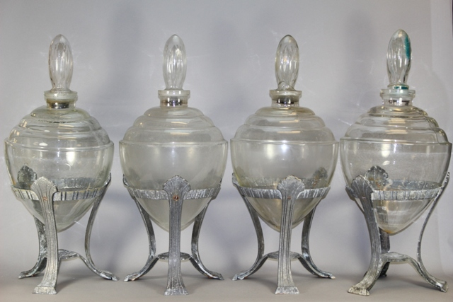 Four Italian Art Deco Apothecary Jars