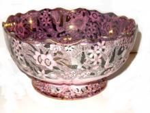 Fabulous 19th.C Davenport Pink Lusterware Bowl