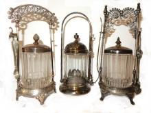 Three Late 19th. C. Silver-plate Pickle Castors