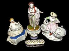 German Figures And Two Ladies Pill Boxes