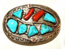 Zuni Sterling Belt Buckle By Effie Calavaza