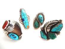 Zuni Sterling And Turquoise Southwestern Rings