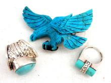 Zuni Turquoise Eagle & Two Zuni Sterling Rings