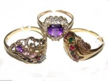 10kt. Gold Multi Gemstone Birthstone Rings